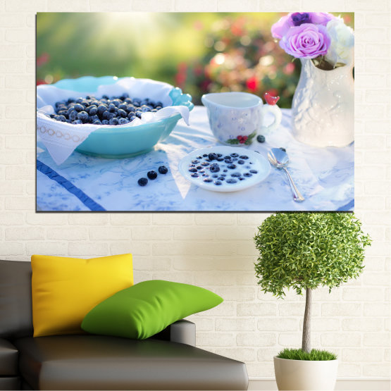 Canvas prints & wall decorative panels - 1 piece №0733 » Purple, Turquoise, Green, Gray, White, Beige » Flower, Drink, Blueberries, Morning, Food, Breakfast, Beverage, Cup, Porcelain Form #1