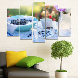 Flower, Drink, Blueberries, Breakfast, Morning, Cup, Beverage, Porcelain, Food » Purple, Turquoise, Green, Gray, White, Beige