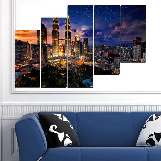 Декоративни панели и картини от канава - от 5 части №0696 » Оранжев, Кафяв, Черен, Тъмно сив » Град, Нощ, Небостъргач, Архитектура, Манхатън, Метрополия Form #8