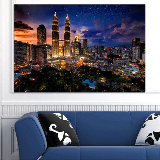 Canvas prints & wall decorative panels - 1 piece №0696 » Orange, Brown, Black, Dark grey » City, Night, Skyscraper, Architecture, Manhattan, Metropolis Form #1