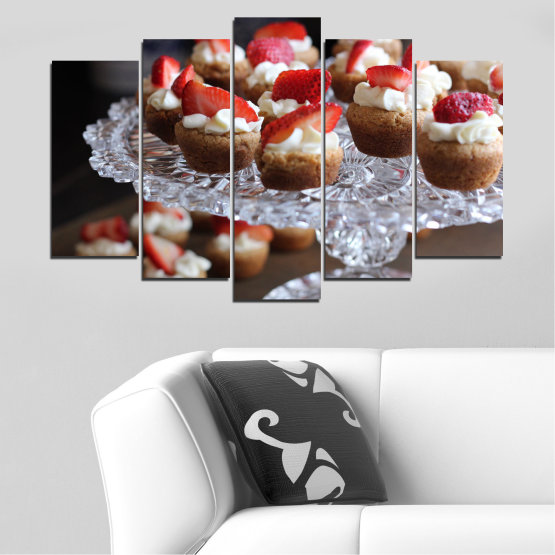 Canvas prints & wall decorative panels - 5 pieces №0734 » Red, Brown, Black, Gray, Dark grey » Fresh, Pastry, Cooking, Food, Breakfast, Delicious, Dessert, Fruit, Strawberry, Cake, Bakery, Sweet Form #1