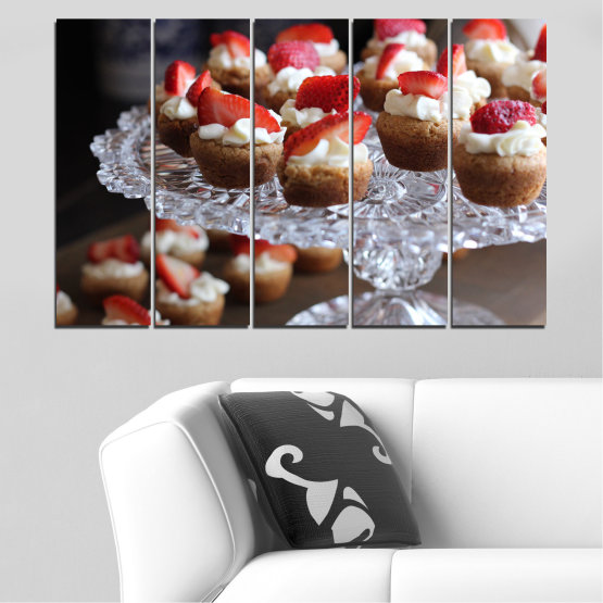 Canvas prints & wall decorative panels - 5 pieces №0734 » Red, Brown, Black, Gray, Dark grey » Fresh, Pastry, Cooking, Food, Breakfast, Delicious, Dessert, Fruit, Strawberry, Cake, Bakery, Sweet Form #2