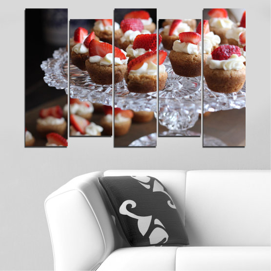 Canvas prints & wall decorative panels - 5 pieces №0734 » Red, Brown, Black, Gray, Dark grey » Fresh, Pastry, Cooking, Food, Breakfast, Delicious, Dessert, Fruit, Strawberry, Cake, Bakery, Sweet Form #3