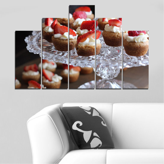 Canvas prints & wall decorative panels - 5 pieces №0734 » Red, Brown, Black, Gray, Dark grey » Fresh, Pastry, Cooking, Food, Breakfast, Delicious, Dessert, Fruit, Strawberry, Cake, Bakery, Sweet Form #5