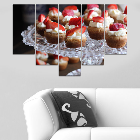 Canvas prints & wall decorative panels - 5 pieces №0734 » Red, Brown, Black, Gray, Dark grey » Fresh, Pastry, Cooking, Food, Breakfast, Delicious, Dessert, Fruit, Strawberry, Cake, Bakery, Sweet Form #6
