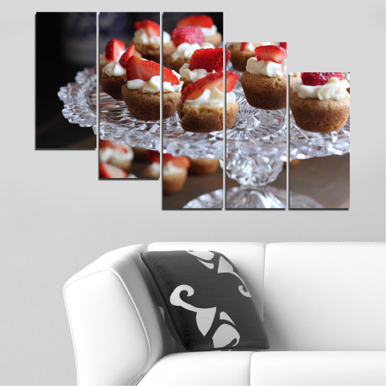 Canvas prints & wall decorative panels - 5 pieces №0734 » Red, Brown, Black, Gray, Dark grey » Fresh, Pastry, Cooking, Food, Breakfast, Delicious, Dessert, Fruit, Strawberry, Cake, Bakery, Sweet Form #7