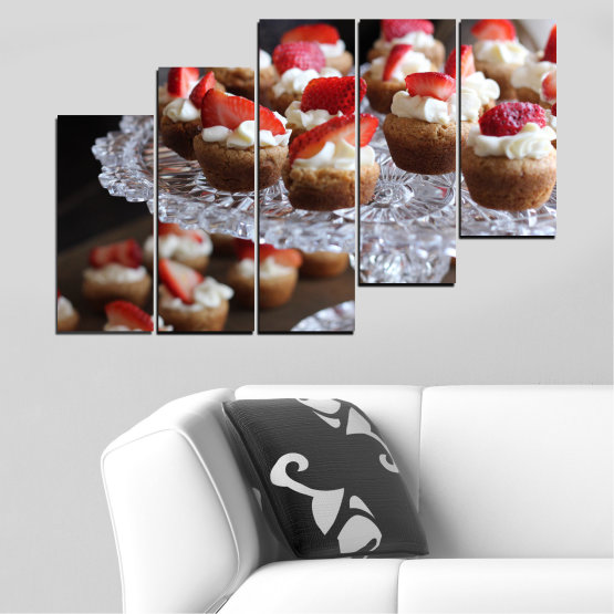 Canvas prints & wall decorative panels - 5 pieces №0734 » Red, Brown, Black, Gray, Dark grey » Fresh, Pastry, Cooking, Food, Breakfast, Delicious, Dessert, Fruit, Strawberry, Cake, Bakery, Sweet Form #8