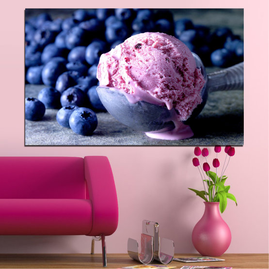 Canvas prints & wall decorative panels - 1 piece №0735 » Pink, Blue, Black, Gray, Dark grey » Colorful, Fresh, Natural, Food, Dessert, Fruit, Tasty, Sweet Form #1