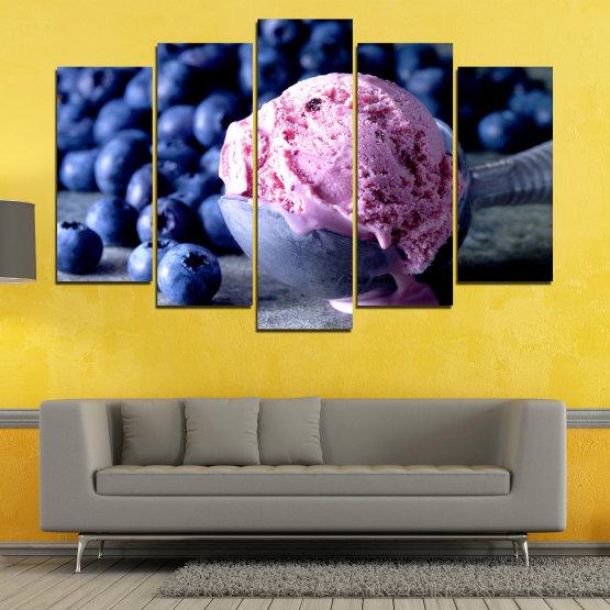 Декоративни панели и картини от канава - от 5 части №0735 » Розов, Син, Черен, Сив, Тъмно сив » Цветен, Свеж, Естествен, Храна, Десерт, Плодове, Вкусно, Сладка Form #1