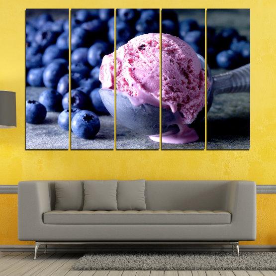Декоративни панели и картини от канава - от 5 части №0735 » Розов, Син, Черен, Сив, Тъмно сив » Цветен, Свеж, Естествен, Храна, Десерт, Плодове, Вкусно, Сладка Form #2