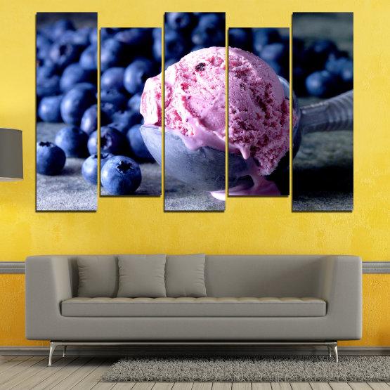Декоративни панели и картини от канава - от 5 части №0735 » Розов, Син, Черен, Сив, Тъмно сив » Цветен, Свеж, Естествен, Храна, Десерт, Плодове, Вкусно, Сладка Form #3