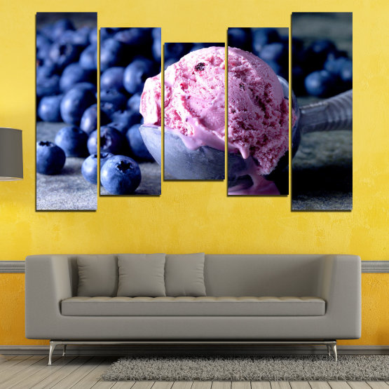 Декоративни панели и картини от канава - от 5 части №0735 » Розов, Син, Черен, Сив, Тъмно сив » Цветен, Свеж, Естествен, Храна, Десерт, Плодове, Вкусно, Сладка Form #4