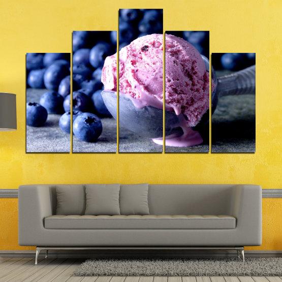 Декоративни панели и картини от канава - от 5 части №0735 » Розов, Син, Черен, Сив, Тъмно сив » Цветен, Свеж, Естествен, Храна, Десерт, Плодове, Вкусно, Сладка Form #5
