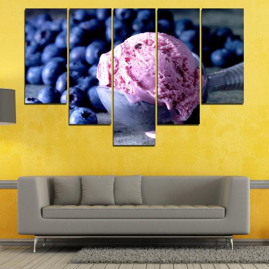 Декоративни панели и картини от канава - от 5 части №0735 » Розов, Син, Черен, Сив, Тъмно сив » Цветен, Свеж, Естествен, Храна, Десерт, Плодове, Вкусно, Сладка Form #6