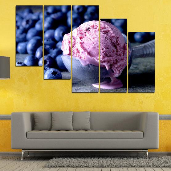 Декоративни панели и картини от канава - от 5 части №0735 » Розов, Син, Черен, Сив, Тъмно сив » Цветен, Свеж, Естествен, Храна, Десерт, Плодове, Вкусно, Сладка Form #7