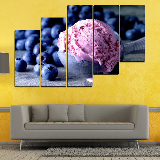 Декоративни панели и картини от канава - от 5 части №0735 » Розов, Син, Черен, Сив, Тъмно сив » Цветен, Свеж, Естествен, Храна, Десерт, Плодове, Вкусно, Сладка Form #8
