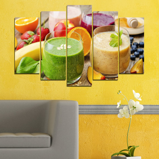 Canvas prints & wall decorative panels - 5 pieces №0736 » Red, Green, Orange, Brown, Gray, Beige » Fresh, Drink, Color, Nutrition, Food, Glass, Breakfast, Delicious, Diet, Healthy, Vitamin, Juice Form #1