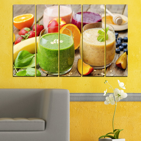 Canvas prints & wall decorative panels - 5 pieces №0736 » Red, Green, Orange, Brown, Gray, Beige » Fresh, Drink, Color, Nutrition, Food, Glass, Breakfast, Delicious, Diet, Healthy, Vitamin, Juice Form #2
