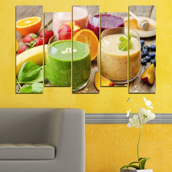 Canvas prints & wall decorative panels - 5 pieces №0736 » Red, Green, Orange, Brown, Gray, Beige » Fresh, Drink, Color, Nutrition, Food, Glass, Breakfast, Delicious, Diet, Healthy, Vitamin, Juice Form #3