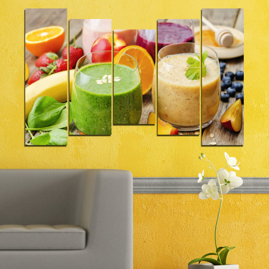 Canvas prints & wall decorative panels - 5 pieces №0736 » Red, Green, Orange, Brown, Gray, Beige » Fresh, Drink, Color, Nutrition, Food, Glass, Breakfast, Delicious, Diet, Healthy, Vitamin, Juice Form #4