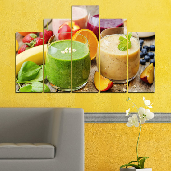 Canvas prints & wall decorative panels - 5 pieces №0736 » Red, Green, Orange, Brown, Gray, Beige » Fresh, Drink, Color, Nutrition, Food, Glass, Breakfast, Delicious, Diet, Healthy, Vitamin, Juice Form #5