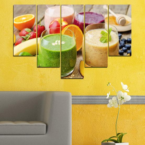 Εκτύπωση σε καμβά και διακοσμητικά πάνελ τοίχου - 5 τεμάχια №0736 » Κόκκινος, Πράσινος, Πορτοκάλι, Καστανός, Γκρί, Μπεζ » Φρέσκο, Ποτό, Χρώμα, Θρέψη, Τροφή, Ποτήρι, Πρωινο γευμα, Νόστιμο, Διατροφή, Υγιής, Βιταμίνη, Χυμός Form #6