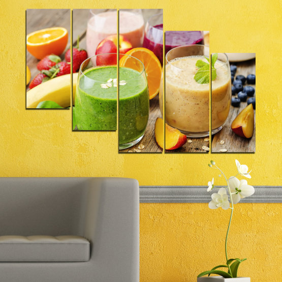 Canvas prints & wall decorative panels - 5 pieces №0736 » Red, Green, Orange, Brown, Gray, Beige » Fresh, Drink, Color, Nutrition, Food, Glass, Breakfast, Delicious, Diet, Healthy, Vitamin, Juice Form #7