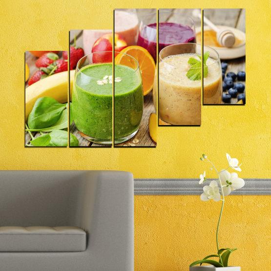 Εκτύπωση σε καμβά και διακοσμητικά πάνελ τοίχου - 5 τεμάχια №0736 » Κόκκινος, Πράσινος, Πορτοκάλι, Καστανός, Γκρί, Μπεζ » Φρέσκο, Ποτό, Χρώμα, Θρέψη, Τροφή, Ποτήρι, Πρωινο γευμα, Νόστιμο, Διατροφή, Υγιής, Βιταμίνη, Χυμός Form #8