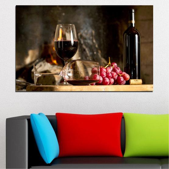 Декоративни панели и картини от канава - от 1 част №0737 » Червен, Кафяв, Черен, Бежов, Тъмно сив » Натюрморт, Вино, Напитка, Елегантен, Алкохол, Червено вино, Винарна, Чаша за вино, Маса, Бутилка Form #1
