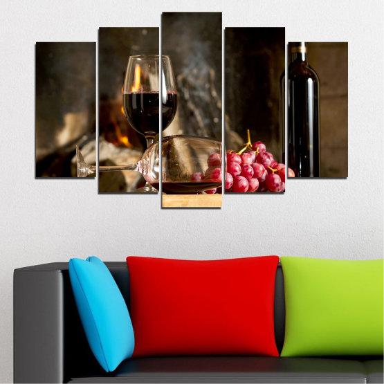 Декоративни панели и картини от канава - от 5 части №0737 » Червен, Кафяв, Черен, Бежов, Тъмно сив » Натюрморт, Вино, Напитка, Елегантен, Червено вино, Винарна, Алкохол, Чаша за вино, Бутилка, Маса Form #1