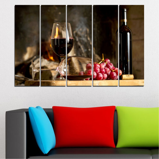 Canvas prints & wall decorative panels - 5 pieces №0737 » Red, Brown, Black, Beige, Dark grey » Still life, Wine, Drink, Elegant, Red wine, Winery, Alcohol, Wineglass, Table, Bottle Form #2
