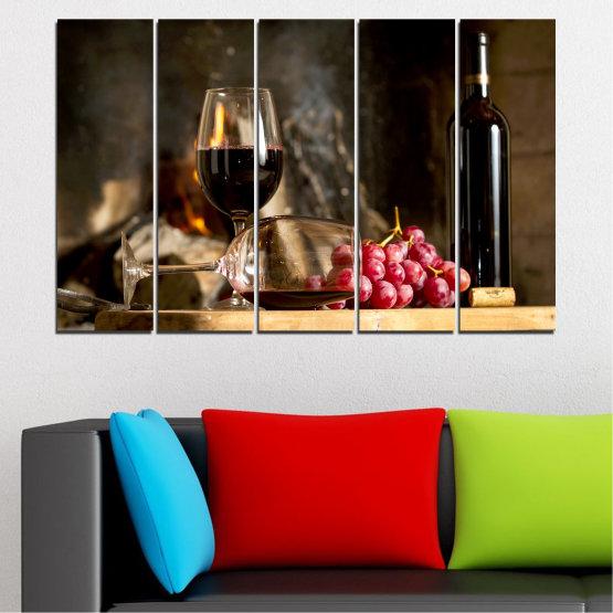 Декоративни панели и картини от канава - от 5 части №0737 » Червен, Кафяв, Черен, Бежов, Тъмно сив » Натюрморт, Вино, Напитка, Елегантен, Червено вино, Винарна, Алкохол, Чаша за вино, Бутилка, Маса Form #2