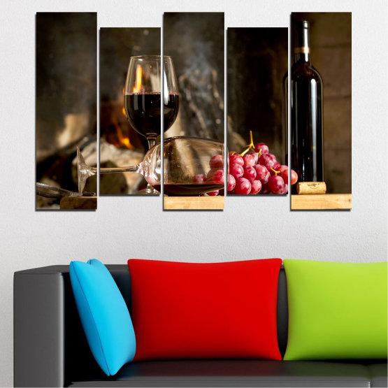 Декоративни панели и картини от канава - от 5 части №0737 » Червен, Кафяв, Черен, Бежов, Тъмно сив » Натюрморт, Вино, Напитка, Елегантен, Червено вино, Винарна, Алкохол, Чаша за вино, Бутилка, Маса Form #3