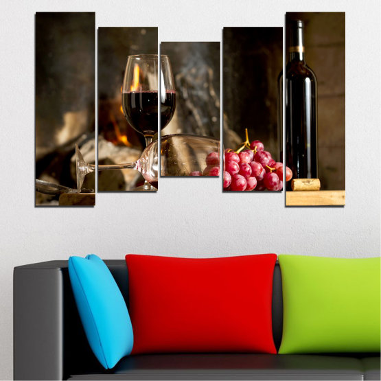 Canvas prints & wall decorative panels - 5 pieces №0737 » Red, Brown, Black, Beige, Dark grey » Still life, Wine, Drink, Elegant, Red wine, Winery, Alcohol, Wineglass, Table, Bottle Form #4