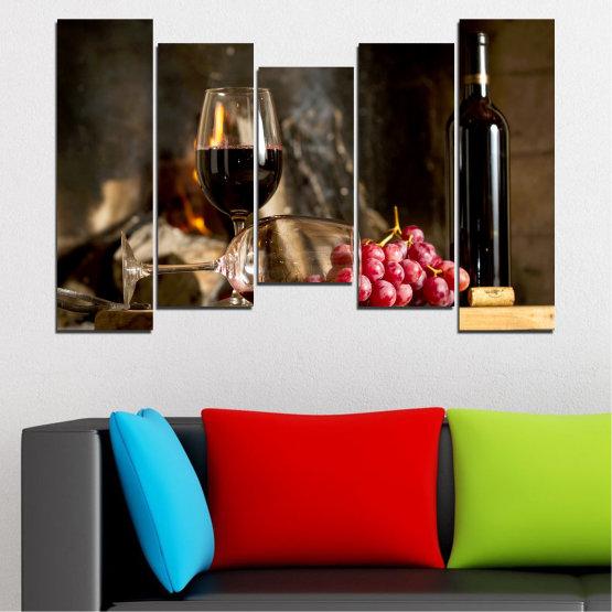 Декоративни панели и картини от канава - от 5 части №0737 » Червен, Кафяв, Черен, Бежов, Тъмно сив » Натюрморт, Вино, Напитка, Елегантен, Червено вино, Винарна, Алкохол, Чаша за вино, Бутилка, Маса Form #4