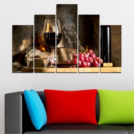 Декоративни панели и картини от канава - от 5 части №0737 » Червен, Кафяв, Черен, Бежов, Тъмно сив » Натюрморт, Вино, Напитка, Елегантен, Червено вино, Винарна, Алкохол, Чаша за вино, Бутилка, Маса Form #5