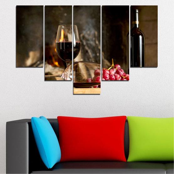 Декоративни панели и картини от канава - от 5 части №0737 » Червен, Кафяв, Черен, Бежов, Тъмно сив » Натюрморт, Вино, Напитка, Елегантен, Червено вино, Винарна, Алкохол, Чаша за вино, Бутилка, Маса Form #6