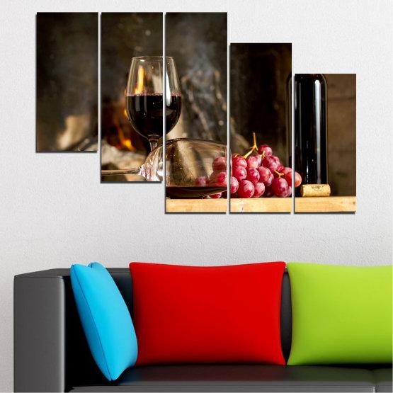 Декоративни панели и картини от канава - от 5 части №0737 » Червен, Кафяв, Черен, Бежов, Тъмно сив » Натюрморт, Вино, Напитка, Елегантен, Червено вино, Винарна, Алкохол, Чаша за вино, Бутилка, Маса Form #7