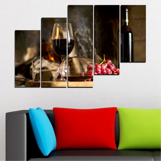 Декоративни панели и картини от канава - от 5 части №0737 » Червен, Кафяв, Черен, Бежов, Тъмно сив » Натюрморт, Вино, Напитка, Елегантен, Червено вино, Винарна, Алкохол, Чаша за вино, Бутилка, Маса Form #8