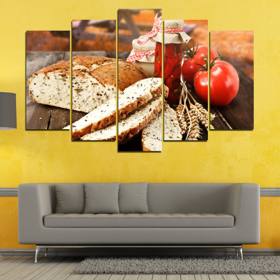 Canvas prints & wall decorative panels - 5 pieces №0738 » Red, Orange, Brown, Black, Beige » Fresh, Cuisine, Nutrition, Food, Gourmet, Diet, Vegetable, Tasty, Plate, Lunch, Healthy, Tomato Form #1