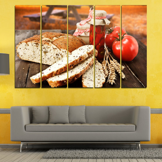Canvas prints & wall decorative panels - 5 pieces №0738 » Red, Orange, Brown, Black, Beige » Fresh, Cuisine, Nutrition, Food, Gourmet, Diet, Vegetable, Tasty, Lunch, Plate, Healthy, Tomato Form #2