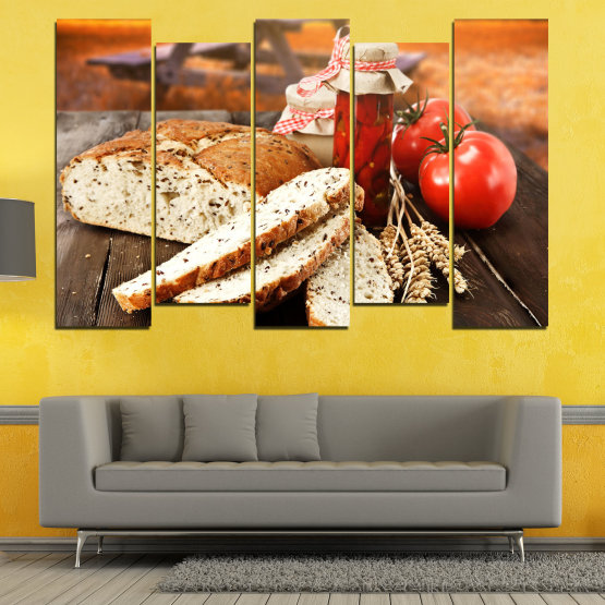 Canvas prints & wall decorative panels - 5 pieces №0738 » Red, Orange, Brown, Black, Beige » Fresh, Cuisine, Nutrition, Food, Gourmet, Diet, Vegetable, Tasty, Plate, Lunch, Healthy, Tomato Form #3
