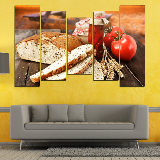 Canvas prints & wall decorative panels - 5 pieces №0738 » Red, Orange, Brown, Black, Beige » Fresh, Cuisine, Nutrition, Food, Gourmet, Diet, Vegetable, Tasty, Plate, Lunch, Healthy, Tomato Form #4