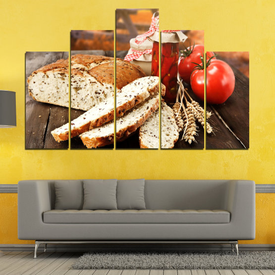 Canvas prints & wall decorative panels - 5 pieces №0738 » Red, Orange, Brown, Black, Beige » Fresh, Cuisine, Nutrition, Food, Gourmet, Diet, Vegetable, Tasty, Plate, Lunch, Healthy, Tomato Form #5