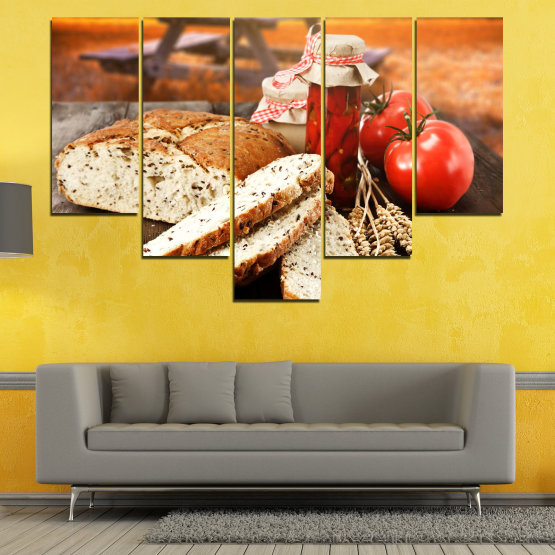 Canvas prints & wall decorative panels - 5 pieces №0738 » Red, Orange, Brown, Black, Beige » Fresh, Cuisine, Nutrition, Food, Gourmet, Diet, Vegetable, Tasty, Plate, Lunch, Healthy, Tomato Form #6