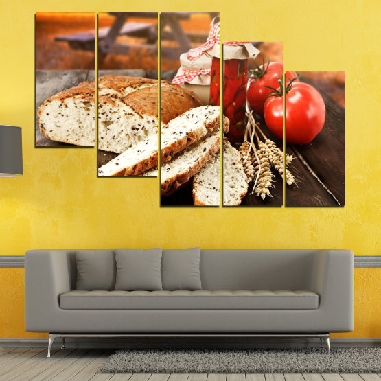 Canvas prints & wall decorative panels - 5 pieces №0738 » Red, Orange, Brown, Black, Beige » Fresh, Cuisine, Nutrition, Food, Gourmet, Diet, Vegetable, Tasty, Lunch, Plate, Healthy, Tomato Form #7