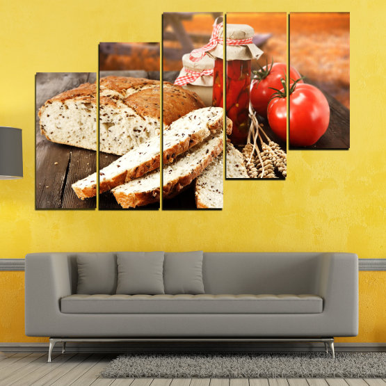 Canvas prints & wall decorative panels - 5 pieces №0738 » Red, Orange, Brown, Black, Beige » Fresh, Cuisine, Nutrition, Food, Gourmet, Diet, Vegetable, Tasty, Plate, Lunch, Healthy, Tomato Form #8