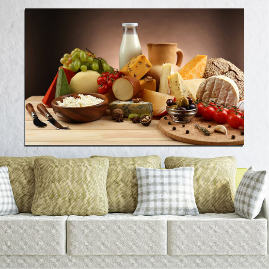 Canvas prints & wall decorative panels - 1 piece №0739 » Brown, Black, Beige, Dark grey » Fresh, Kitchen, Nutrition, Dinner, Food, Breakfast, Gourmet, Restaurant, Lunch, Healthy Form #1