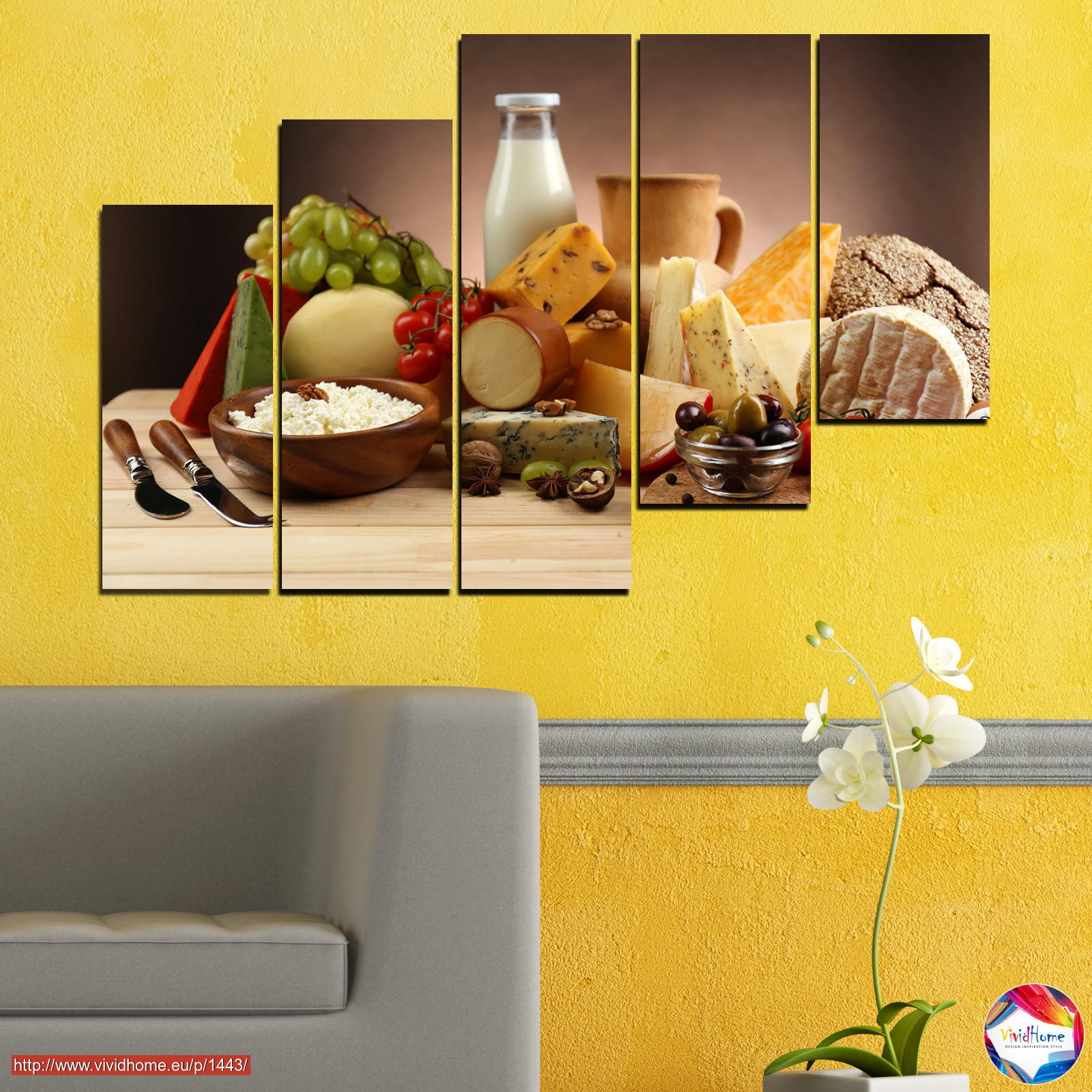 Canvas prints \u0026 wall decorative panels - 5 pieces №0739 » Brown Black & Fresh Kitchen Nutrition Dinner Food Breakfast Gourmet ...