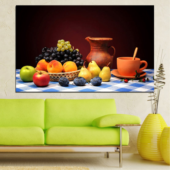 Canvas prints & wall decorative panels - 1 piece №0740 » Red, Yellow, Orange, Black, White » Freshness, Kitchen, Food, Delicious, Fruit, Healthy Form #1